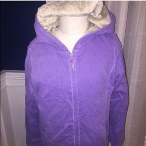 Girls LLbean heavy lined purple sweatshirt large